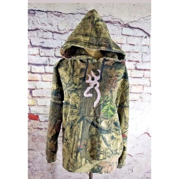 3c933297ad992 Browning Tops | Womens Camo Print Buckmark Hoodie Large | Poshmark